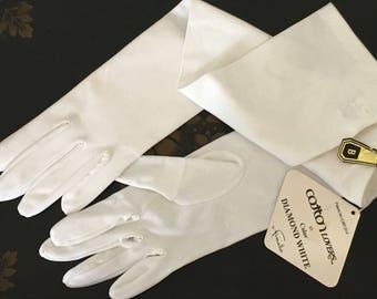 Vintage Opera Gloves by Finale in Diamond White Prom Wedding Retro Gloves