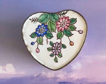 Vintage Enamel Brass Trinket Box Cobalt Blue White and Pink Charming Vanity Decor Valentines Gift