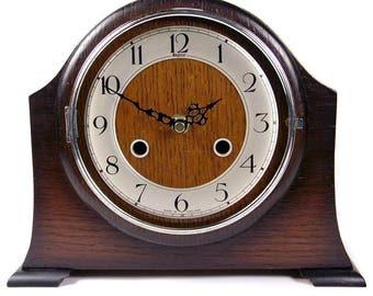 Vintage 1940's Post War Oak Veneered Mantel Clock with a New Quartz Movement