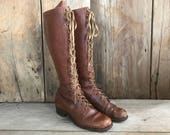 Reserved for Paige Brown Leather Boots Lace Up Antique Size 5, 6 US ca Early 1900s