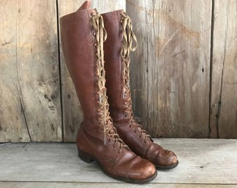 Brown Leather Boots Lace Up Antique Size 5, 6 US ca Early 1900s