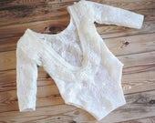 Newborn Romper girl ivory bodysuit, lace romper off white newborn, long sleeve bodysuit floral romper Newborn girl Photo Prop off white