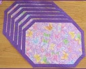 Quilted Placemats Butterfly Sparkle Purple 161