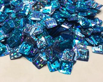 8 mm blue auqa multi shine sequins, (40)