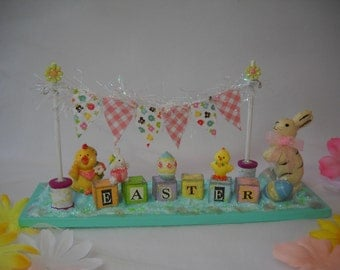 Easter decoration, Mixed media altered art, table decoration, Easter, bunnies, chicks, Easter banner, Easter art, miniatures, vintage Easter
