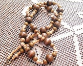 Avon 40 inch Wood Fall Necklace, Wood Beads, Brown, cream, olive, beige wood beads, Long necklace