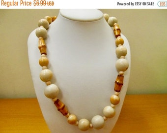 On Sale Vintage Wooden and Bamboo Beaded Necklace Item K # 2693