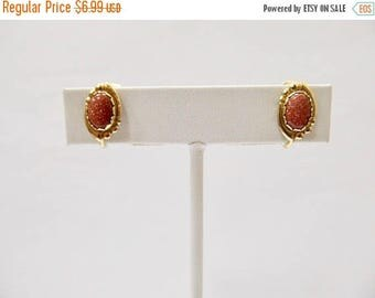 On Sale Vintage Small Goldstone Earrings Item K # 1935