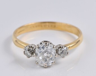 Authentic Victorian 1.80 Ct old mine diamond fantastic trilogy ring