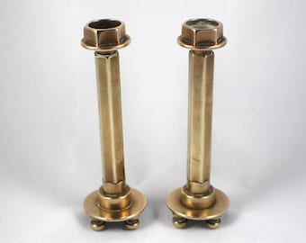 Steampunk Ratchet Style Pair of Small Brass Candle Stick Holders Candlesticks Round Base