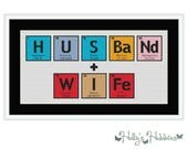 Husband and Wife Wedding Chemical Element Cross Stitch Chart