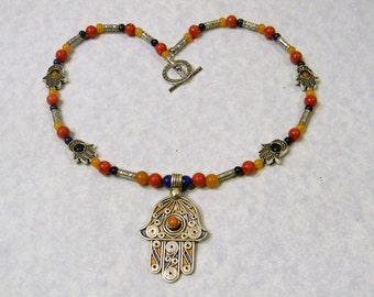 Tuareg Berber Enamel & Silver and Gemstone Pendant Necklace