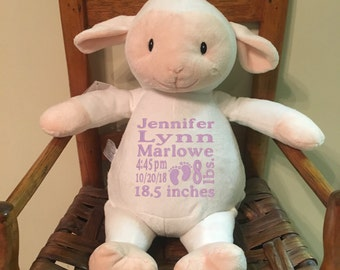 Lamb Personalized stuffed animal baby gift toddler present