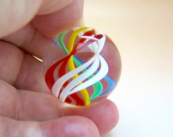 Remarkable large clear lampwork glass marble colorful ribbons suspended in a double helix, flamework glass art marble