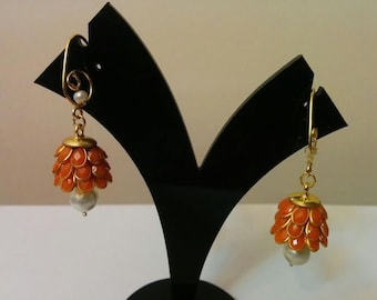 Three- tier Indian pacchi, pachi jhumkas in orange with golden hook, Indian jewelry, earing
