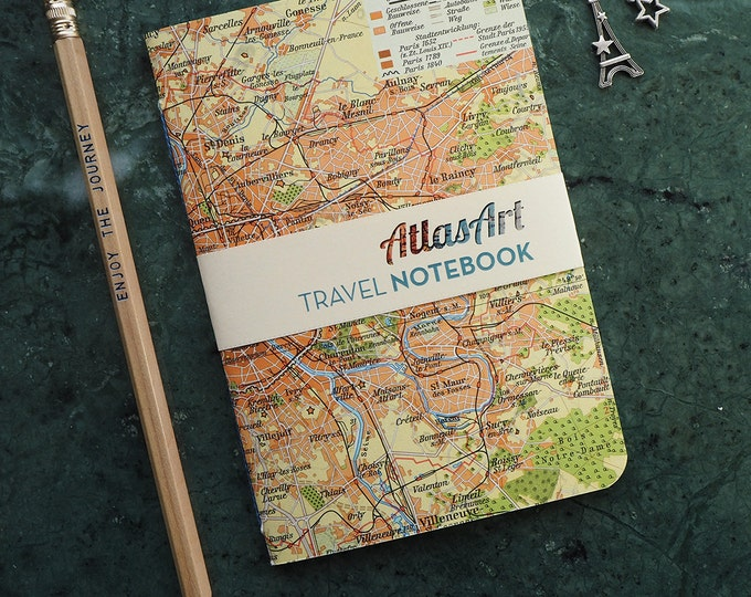 NOTEBOOK SMALL, Paris, France, Europe, 32p. plain/ruled, travel journal, diary, notebook, atlas, map, vintage, upcycling