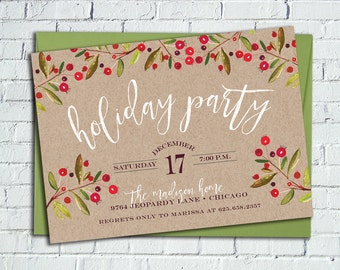Rustic Holly Holiday Party Invitation || Kraft Paper, Printable Invitation || Christmas Card
