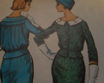 Vintage 1950's McCall's 4706 2-Piece Suit Dress Sewing Pattern, Size 18, Bust 38