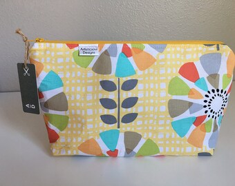 Makeup Bag, Yellow Flower Power -- Zipper Cosmetic Bag