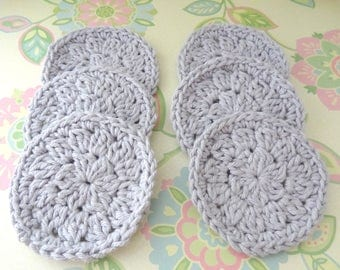A Set of 6 Gray Crochet Face Scrubbies/Facial Scrubbies/Cotton Pads/Cleansing Pads - 100% Cotton - Ready to Ship