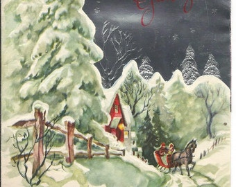 Vintage Sled Scene Christmas Card 1949