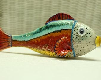 Ceramic 3D Fish, Ceramic Sculpture, Hand Made Ceramic, Home Decoration, Hand Build Ceramic Fish