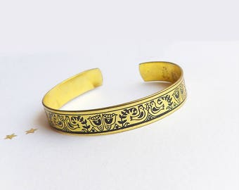 Vintage Brass Cuff Bracelet, Etched Handcrafted Adjustable Bracelet, Black Enamel Folk Motif