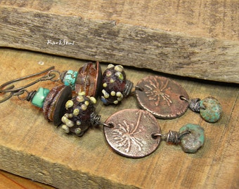 Rustic earrings-earrings vintage style-bead spun with torch and medal copper-thistle-turquoise-blue-pale pink