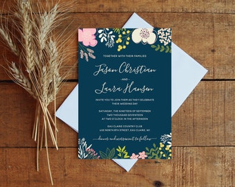 Wedding Invitation, Wedding Invitation Set, Navy Wedding, Floral Wedding, Botanical Wedding Invitation, Wildflowers, Illustrations