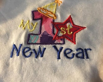 My First New Year Appliqued Onesie
