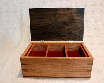 Wood Jewelry Box - A Cherry, Walnut and Brazilian Rosewood Jewelry Box