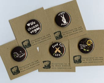 Vegan Pins / Vegan Badges / Vegan Runners / Indian ink Vegan paintings / Vegan Activist / Vegan gift / 1 inch pins / Vegan Power