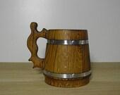 Wooden Beer mug 0,65 l (22oz) , natural wood, stainless steel inside,groomsmen gift, n06