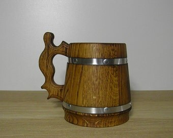 Wooden Beer mug 0,65 l (22oz) , natural wood, stainless steel inside,groomsmen gift, n06