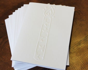 Birthday candle card set, set of eight embossed cards in white, birthday card, party celebration, happy birthday