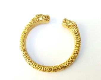 brass cuff bracelet floral groove T7 SIZE medium