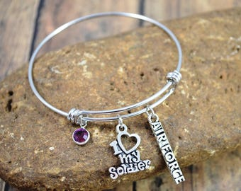 Air Force Themed Bangle Bracelet ~ Military Bracelet ~ Swarovski Amethyst Birthstone ~ Air Force Jewelry ~ I Love My Soldier