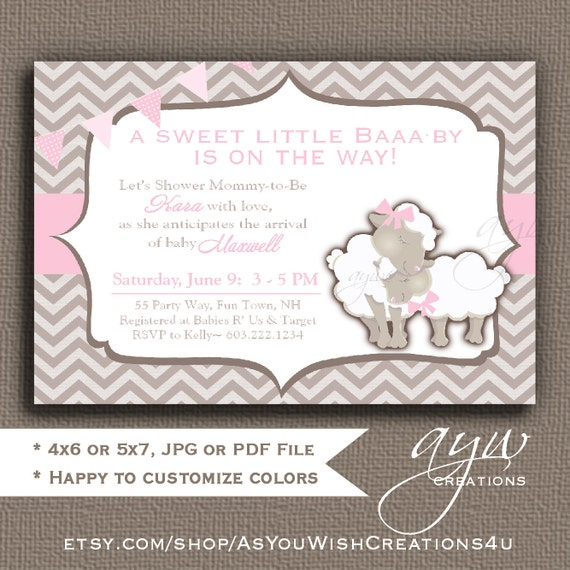 Sheep Baby Shower Girl Invitation Lamb Baby Shower Invitation