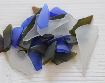 Frosted glass fragments, faux sea glass