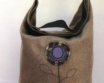 Pale Brown Wool and Blue PVC Appliqued Bag SF004