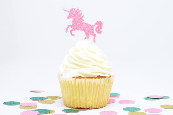Unicorn Cupcake Toppers - Pink Glitter - First Birthday Decor. Unicorn Party Decor. Birthday. Bachelorette Party. Engagement Party Decor.