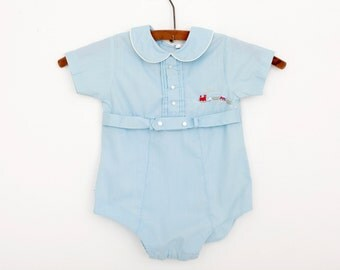 Vintage Tiny Tots Train Theme Romper in Baby Blue / 1970s / 6 to 12 months