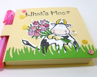 Cow theme gift, Cute Sticky Note Holder with Pen, Whats Moo, Black and White Cow