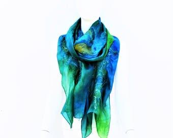 Scarf Hand Dyed Silk Nuno Felt Shawl