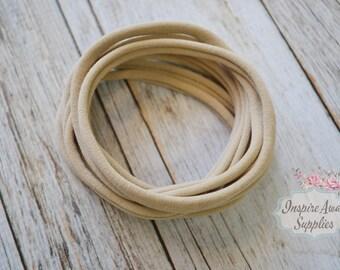 Thin Nude nylon headband, Light Tan soft stretchy one size fits all headband, wholesale nylon headbands, diy headband, headband supplies,