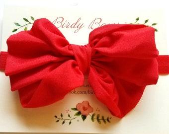 Red Chiffon Bow Headband, Baby Headbands, Baby Girl Headbands, Infant Headbands, Baby Bow, Infant Bow, Girl Headband