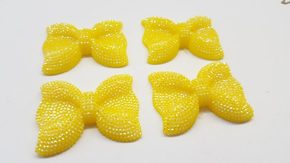 Yellow AB Large Flat Back Chunky Resin Rhinestone Embellishment Bows C17