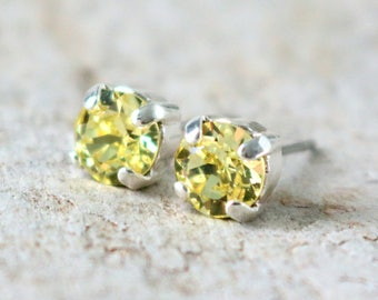 Jonquil Yellow Studs | Crystal Stud Earrings | Wedding Jewelry | Bridal Earring | Silver Studs | Yellow Wedding | Gift For Her | Soft Yellow