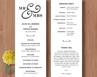Wedding Programs Mr and Mrs Wedding Program - Printable Wedding Program Ceremony Cards Custom Wedding Program