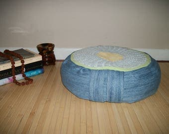 "Meditation Cushion. Zafu. Dorm/Floor Pillow. Repurposed denim and doily. UNFILLED cover. 6""L. Zipper closure. Handle. 15x5. Handmade, USA"